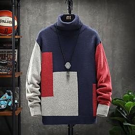 Men's Color Block Pullover Long Sleeve Sweater Cardigans Turtleneck Navy Blue Beige