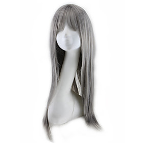 Synthetic Wig Curly Asymmetrical Wig Long Grey Synthetic Hair 27 inch Women's Best Quality Dark Gray