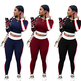 Women's 2-Piece Side-Stripe Tracksuit Sweatsuit Streetwear Casual Long Sleeve Windproof Breathable Soft Fitness Running Jogging Sportswear Outfit Set Clothing