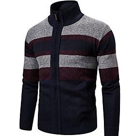 Men's Color Block Cardigan Long Sleeve Sweater Cardigans V Neck Blue Camel Light gray