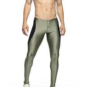 TAUWELL Men's Leggings Running Tights Compression Pants Sports Leggings Running Fitness Jogging Breathable Quick Dry Soft Color Block Army Green Dark Blue / St