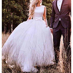 A-Line Wedding Dresses Bateau Neck Sweep / Brush Train Tulle Regular Straps Romantic Plus Size with Bow(s) 2020