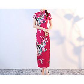Women's Maxi Bodycon Dress - Short Sleeve Geometric Turtleneck White Black Blue Purple Red Blushing Pink Fuchsia Royal Blue S M L XL XXL XXXL XXXXL XXXXXL XXXX