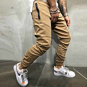 Men's Basic Sweatpants Pants Solid Colored Black Khaki Green M L XL