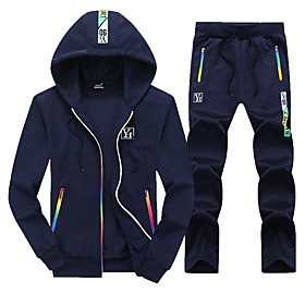 Men's 2-Piece Full Zip Tracksuit Sweatsuit 2pcs Winter Front Zipper Hooded Running Fitness Jogging Thermal / Warm Breathable Soft Sportswear Rainbow Athletic C