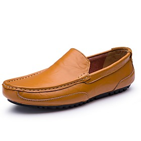 Men's Loafers  Slip-Ons Comfort Shoes Daily Cowhide Black / Blue / Brown Fall  Winter