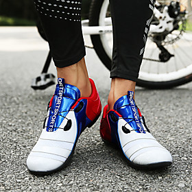 Adults' Bike Shoes Mountain Bike Shoes Road Bike Shoes Nylon Breathable Anti-Slip Mountain Bike MTB Road Cycling Outdoor Exercise Red / White OrangeWhite BlueO