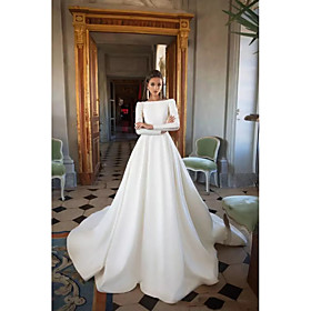 A-Line Wedding Dresses Bateau Neck Court Train Polyester Long Sleeve Simple Backless Elegant with 2020