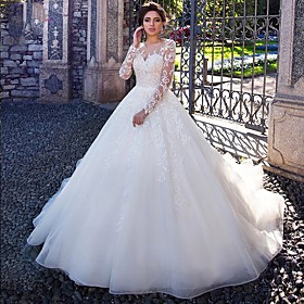 Ball Gown Wedding Dresses Jewel Neck Court Train Lace Tulle Long Sleeve Plus Size Illusion Sleeve with Lace Appliques 2020