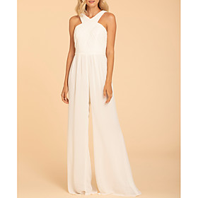 Jumpsuits Halter Neck Floor Length Chiffon Bridesmaid Dress with Ruching / Open Back