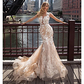 Mermaid / Trumpet Wedding Dresses Jewel Neck Chapel Train Lace Tulle Regular Straps Illusion Detail Backless with Appliques 2020