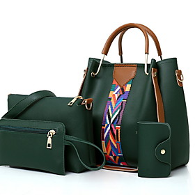 Women's Zipper Cowhide Bag Set Solid Color 4 Pieces Purse Set Black / White / Blushing Pink