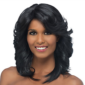 Synthetic Wig Curly Asymmetrical Wig Short Natural Black Synthetic Hair 26 inch Women's Best Quality Black