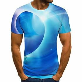 Men's 3D Graphic Slim T-shirt Basic Daily Round Neck Light Blue / Short Sleeve