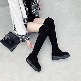 Women's Boots Over-The-Knee Boots Wedge Heel Suede Over The Knee Boots Fall  Winter Black