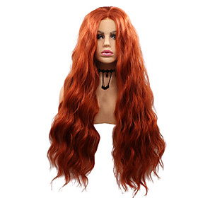Synthetic Lace Front Wig Body Wave Layered Haircut Lace Front Wig Medium Length Orange Synthetic Hair 26 inch Women's Party Women Adorable Red Sylvia