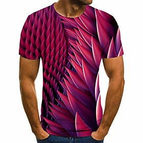 Men's 3D Graphic Slim T-shirt Basic Daily Round Neck Red / Short Sleeve