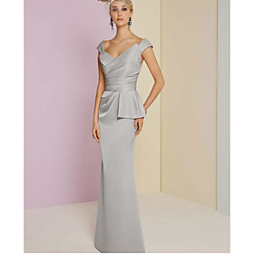 Sheath / Column Elegant Engagement Formal Evening Dress Plunging Neck Sleeveless Floor Length Satin with Ruched 2020