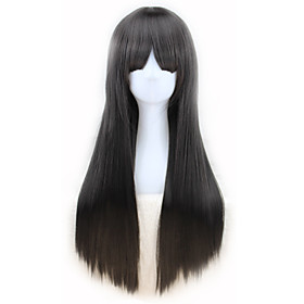 Synthetic Wig Curly Asymmetrical Wig Long Natural Black Synthetic Hair 27 inch Women's Black