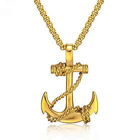 Men's Pendant Necklace Geometrical Anchor Fashion Titanium Steel Black Gold Silver 50 cm Necklace Jewelry 1pc For Gift Daily