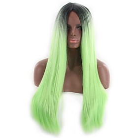 Synthetic Wig Curly Asymmetrical Wig Long Ombre Green Synthetic Hair 27 inch Women's Black Green