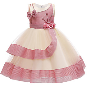 Kids Girls' Active Sweet Patchwork Beaded Patchwork Sleeveless Knee-length Dress Dusty Rose
