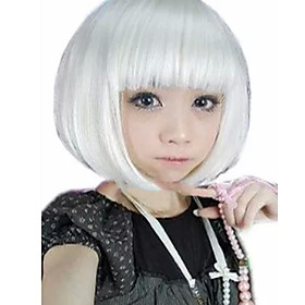 Synthetic Wig kinky Straight Bob Neat Bang Wig Short White Synthetic Hair 13 inch Women's Best Quality White