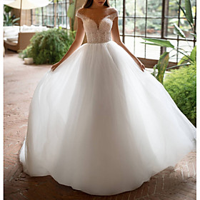 A-Line Wedding Dresses Off Shoulder Court Train Tulle Short Sleeve Plus Size with Beading 2020