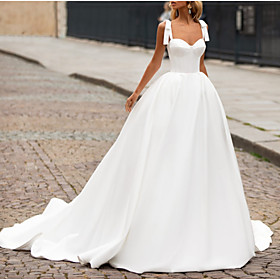 A-Line Wedding Dresses Sweetheart Neckline Sweep / Brush Train Satin Spaghetti Strap Plus Size with Bow(s) 2020