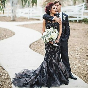 Mermaid / Trumpet Wedding Dresses Jewel Neck Court Train Lace Satin Tulle Regular Straps Sexy Black Modern with Appliques 2020