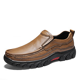 Men's Loafers  Slip-Ons Comfort Shoes Business / Classic Daily Office  Career Cowhide Non-slipping Wear Proof Dark Brown / Black / Khaki Spring  Summer / Fall