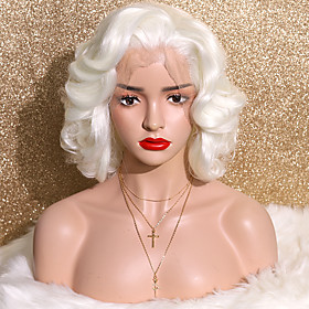 Synthetic Lace Front Wig Curly Side Part Glueless Lace Front Lace Front Wig Short Creamy-white Synthetic Hair 12 inch Women's Fashionable Design Cosplay Party