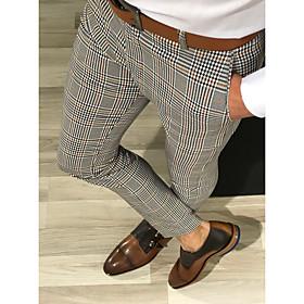Men's Basic Slim Chinos Pants Solid Colored High Waist Black Yellow Gray US32 / UK32 / EU40 US34 / UK34 / EU42 US36 / UK36 / EU44