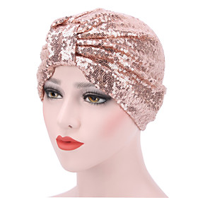Women's Turban Party Active Cute Nylon Knitwear Floppy Hat-Solid Colored All Seasons Black Blushing Pink Gold