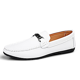 Men's Summer / Fall Classic / British Daily Office  Career Loafers  Slip-Ons Walking Shoes Nappa Leather White / Black