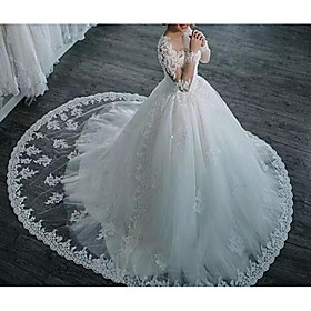 A-Line Wedding Dresses V Neck Sweep / Brush Train Tulle Long Sleeve Formal Plus Size Illusion Sleeve with Appliques 2020