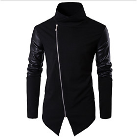 Men's Jacket Regular Solid Colored Daily Long Sleeve Black US32 / UK32 / EU40 US34 / UK34 / EU42 US36 / UK36 / EU44