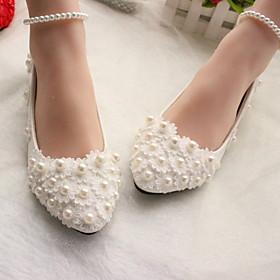 Women's Wedding Shoes Glitter Crystal Sequined Jeweled Flat Heel Round Toe PU Winter White