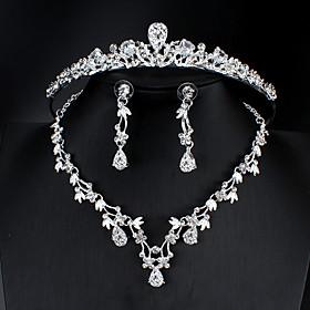 Women's White Cubic Zirconia Head Jewelry Hoop Earrings Necklace Classic Drop Pear Basic Korean Sweet Cute Earrings Jewelry Silver For Wedding Party Engagement