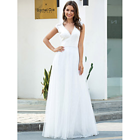 A-Line Wedding Dresses V Neck Floor Length Lace Tulle Short Sleeve Simple Casual with Lace 2020