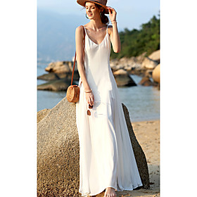 Women's 2020 Maxi Swing Dress - Solid Colored Strap Spring  Summer White S M L XL