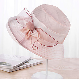 Women's Party Basic Cute Lace Floppy Hat Sun Hat-Floral Color Block Spring Summer Purple Blushing Pink Blue