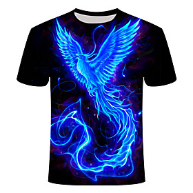Men's 3D Graphic Print Slim T-shirt Daily Round Neck Blue / Short Sleeve