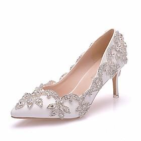 Women's Wedding Shoes Glitter Crystal Sequined Jeweled Stiletto Heel Pointed Toe Basic Wedding Rhinestone Solid Colored PU Summer White