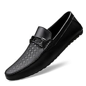 Men's Loafers  Slip-Ons Comfort Shoes Daily Nappa Leather White / Black Spring / Summer