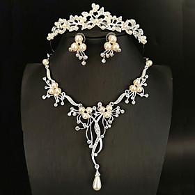 Women's White Head Jewelry Hoop Earrings Necklace Classic Flower Flower Shape Classic Basic Korean Cute Earrings Jewelry Silver For Wedding Engagement Three-pi