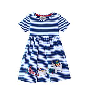 Toddler Girls' Striped Short Sleeve Above Knee Dress Blue