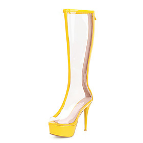 Women's Boots Transparent Shoes Stiletto Heel Peep Toe PU Knee High Boots Classic Spring  Summer Yellow / Green / Silver / Wedding / Party  Evening / Color Blo
