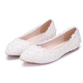 Women's Wedding Shoes Flat Heel Pointed Toe PU Spring  Summer White / Pink