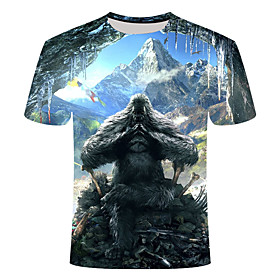 Men's 3D Graphic Print Slim T-shirt Daily Round Neck Navy Blue / Short Sleeve